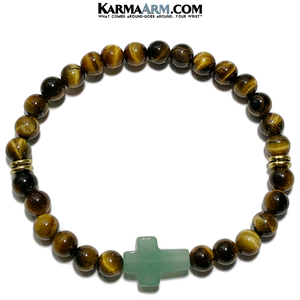 Bead Meditation Yoga Bracelets. Self-Care Wellness Wristband Jewelry. Green Aventurine. Tiger Eye.