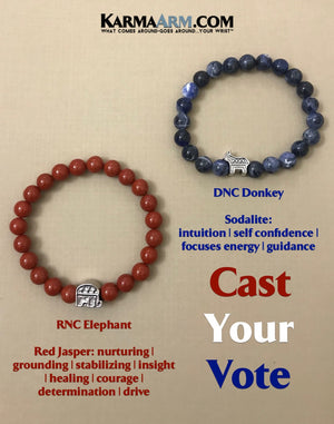 Beaded Bracelets. Mens Bracelets. Yoga Bracelets. BoHo Jewelry.  Republican Elephant. RNC Jewelry. Democratic Donkey. DNC Jewelry.