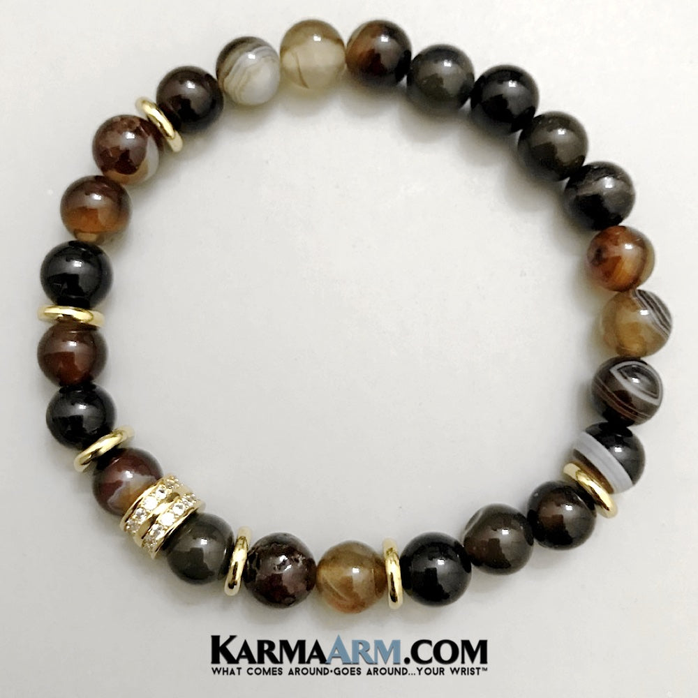 Beaded Bracelets. Yoga Bracelets. Mens Jewelry. BoHo Jewelry. Reiki Healing Bracelets. Meditation Jewelry. Brown Banded Agated. Pave.