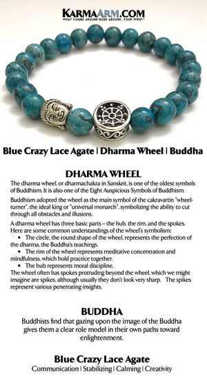 Beaded Bracelets. Yoga Bracelets. Mens Jewelry. BoHo Jewelry. Reiki Healing Bracelets. Meditation Jewelry. Dharma Wheel. Blue Crazy Lace Agate.
