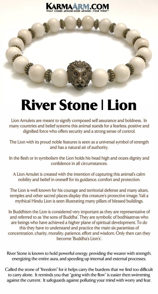 Mens Bracelets River Stone Lion Luxury Reiki Healing Jewelry