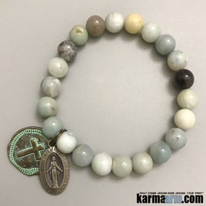 Beaded Bracelets. Yoga Chakra Mala Jewelry. Energy Healing Crystals Stacks. Amazonite Saint Mary.