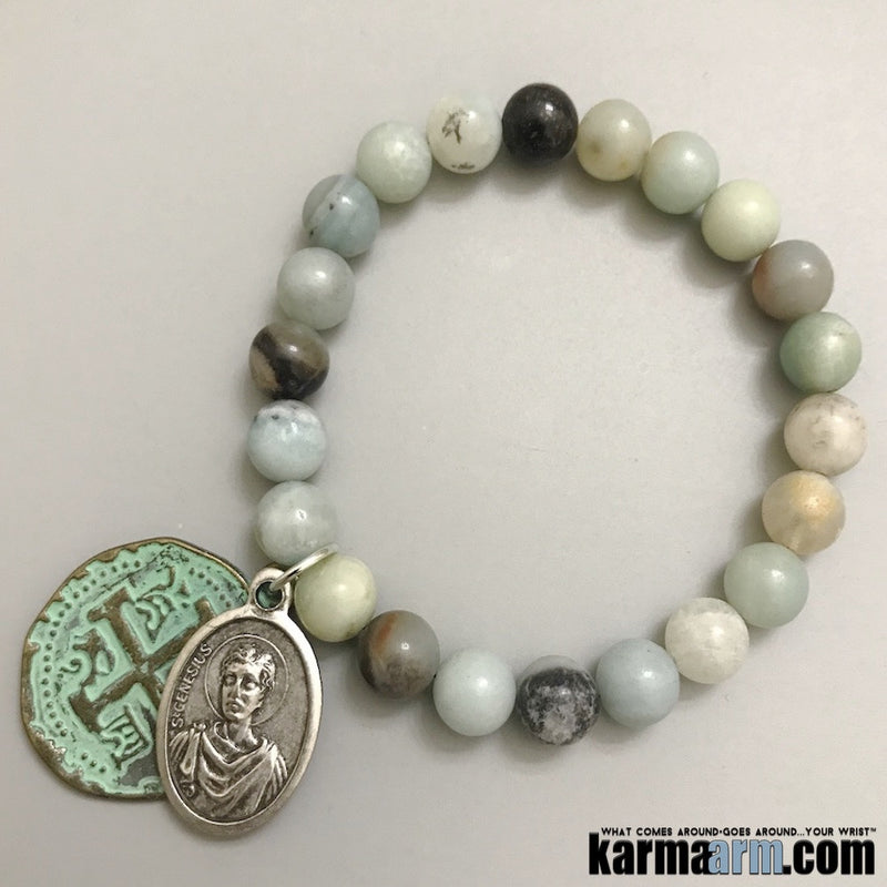 Beaded Bracelets. Yoga Chakra Mala Jewelry. Energy Healing Crystals Stacks. Amazonite Bronze Saint.
