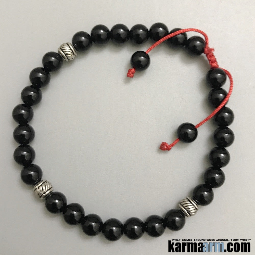 Beaded Bracelets. Yoga Chakra Mala Jewelry. Energy Healing Crystals Stacks. Black Onyx Red Macrame.