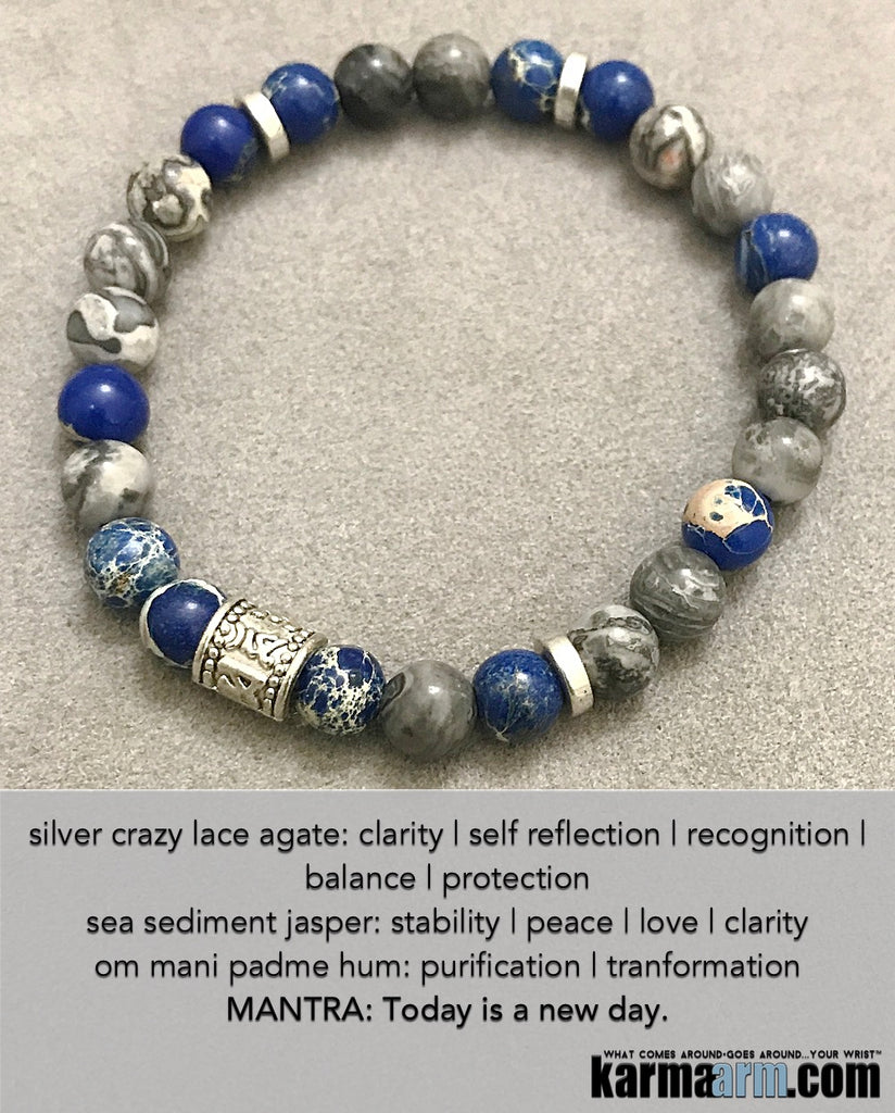 OM Mani Padme Hum Prayer Wheel: Silver Crazy Lace | Sea Sediment Jasper | Yoga Chakra Bracelet