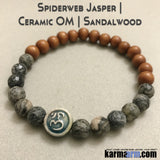 Yoga Bracelets OM Spiderweb Jasper Raku. Energy Healing | Men's Womens | beaded yoga karma mala charm. Law of Attraction. manifest. #LOA.