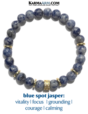 Beaded Yoga Bracelet. Blue Spot Jasper Jewelry. Zen Mens Meditation Bracelet.