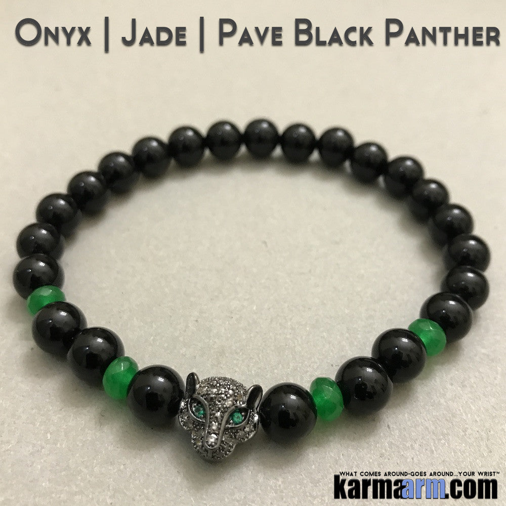 Beaded Yoga Bracelets. Black Onyx Panther Green Jade.  I Law of Attraction | #LOA | Charm Mala I Meditation & Mantra I Spiritual.