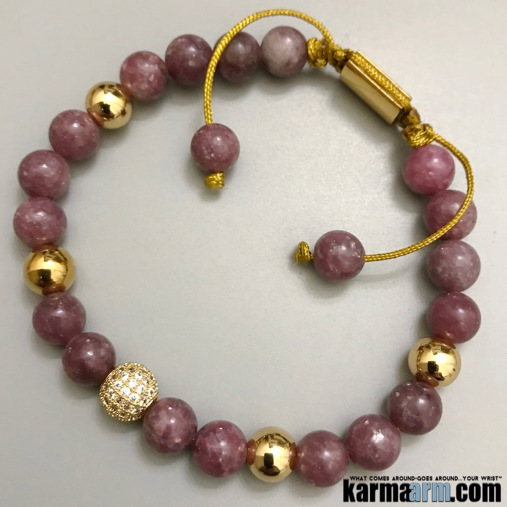 Beaded Yoga Bracelets. Lepidolite Pave. Gifts Crystal Energy Stretch Chakra Mala. Mens Jewelry.
