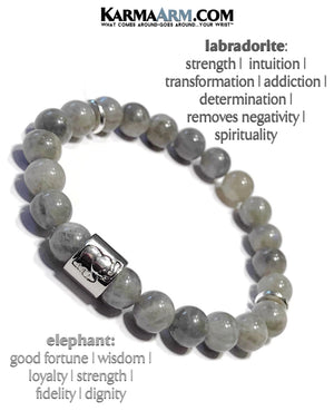 Beaded Yoga Bracelets. Lucky Elephant Jewelry.  Mens Stretch Meditation Jewelry. Reiki Healing Energy Chakra Bracelets. Labradorite.