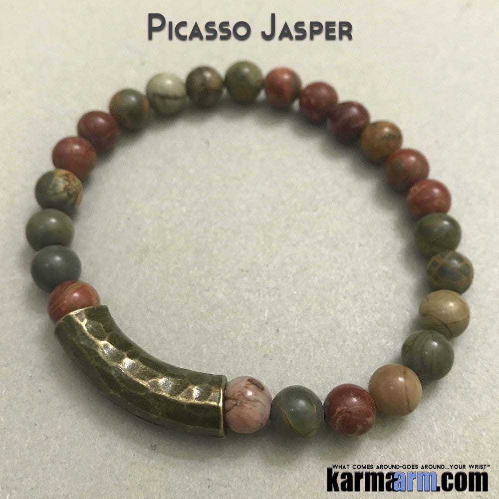 Yoga Bracelets. Picasso Jasper. Men's & Women's Law of Attraction. Energy Healing. Beaded Mala. Tibetan Buddhist. #LOA.