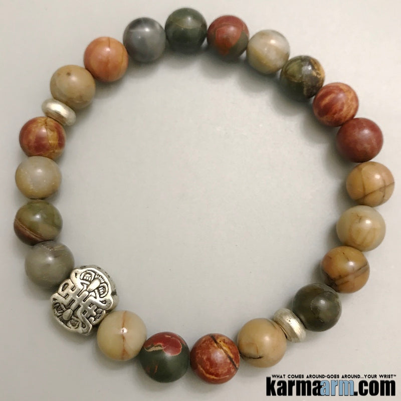 Beaded Yoga Bracelets. Picasso Jasper Lucky Fu Shou. Gifts Love Stretch Chakra Mala. Mens Jewelry.
