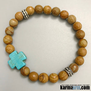 Beaded Yoga Bracelets. Tigerskin Jasper Cross. Gifts Crystal Energy Stretch Chakra Mala. Mens Jewelry.