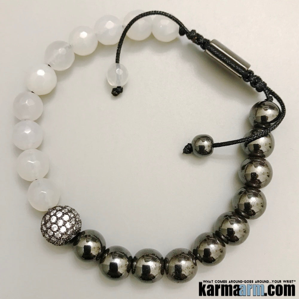 Mens Jewelry. Beaded Yoga Bracelets. White Jade Hematite. Gifts Crystal Energy Stretch Chakra Mala.