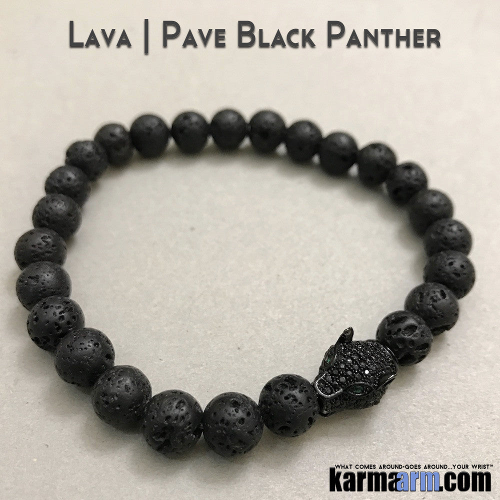 Beaded Yoga Handmade Bracelets. Black Panther Lava Stone. Law of Attraction #LOA | Charm Mala I Meditation & Mantra I Spiritual.