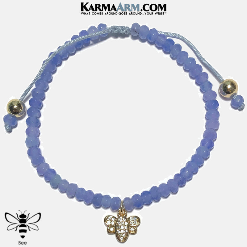 Bees Wellness Self-Care Meditation Mantra Yoga Bracelets. Mens Wristband Jewelry. Blue Jade.