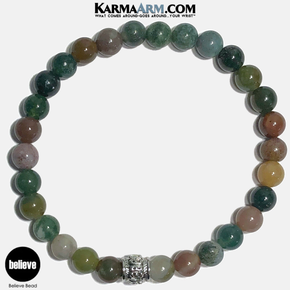 Believe Meditation Mantra Yoga Bracelets. Self Care Wellness Wristband Jewelry. Indian Agate. copy