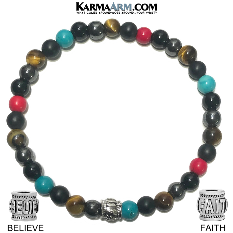 Believe Faith Wellness Self-Care Meditation Yoga Bracelets. Mens Wristband Jewelry. Black Onyx. Coral.