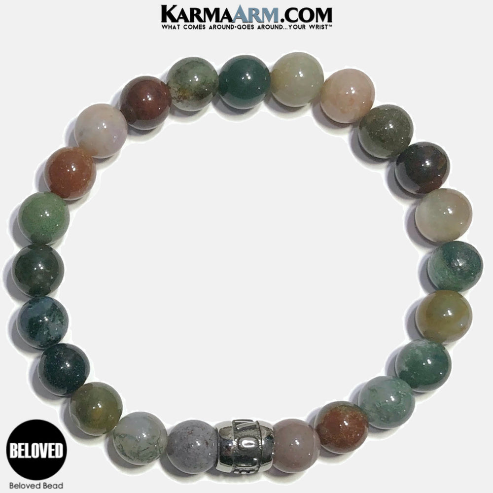 Beloved Meditation Mantra Yoga Bracelets. Self-Care Wellness Wristband Jewelry. Indian Agate.