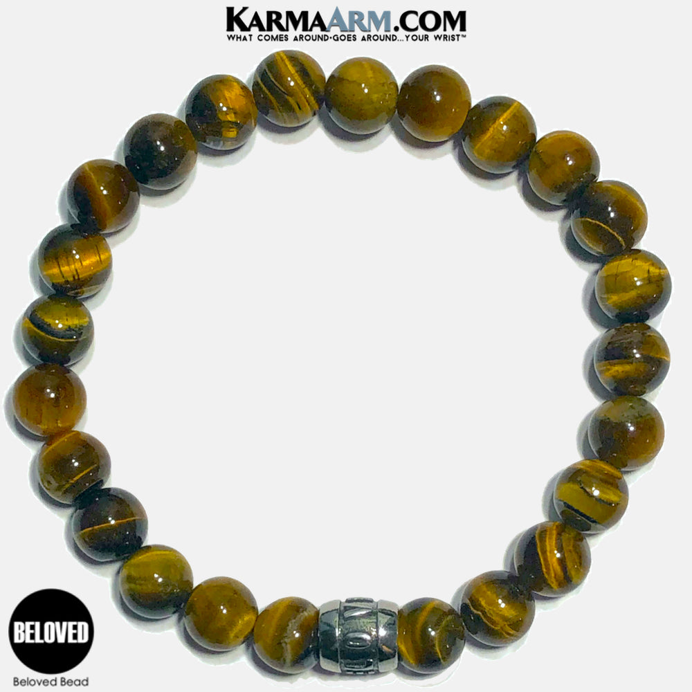 Beloved Meditation Mantra Yoga Bracelets. Self-Care Wellness Wristband Jewelry. Tiger Eye.