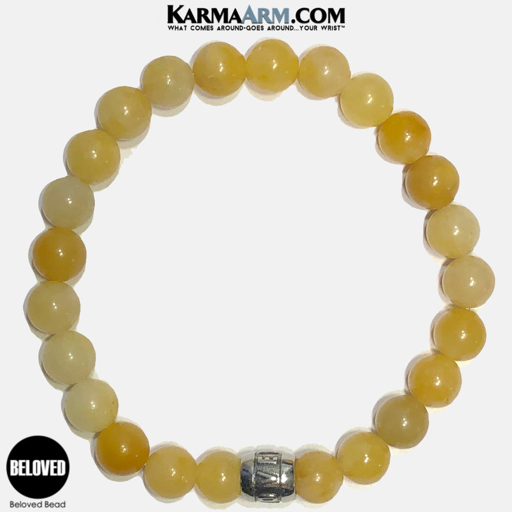 Beloved Meditation Mantra Yoga Bracelets. Self-Care Wellness Wristband Jewelry. Yellow Aventurine. copy 2
