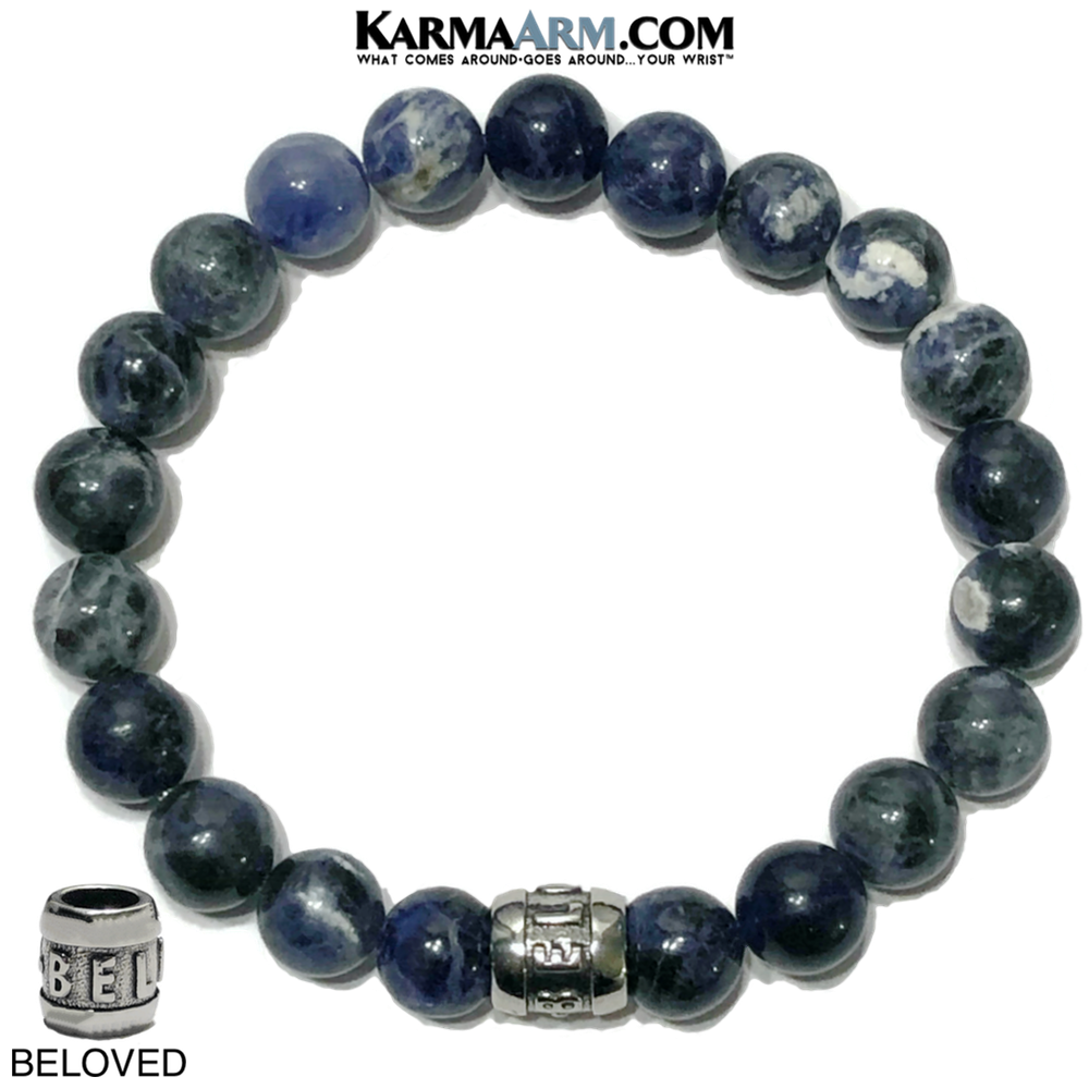 Beloved Self-Care Wellness Meditation Mantra Yoga Bracelet Wristband Sodalite.