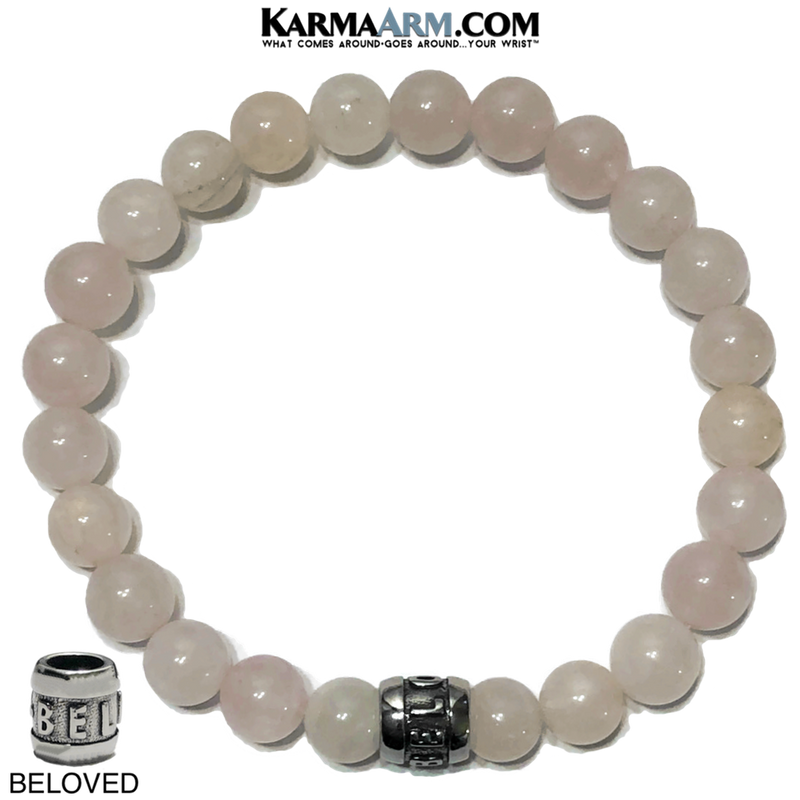 Beloved Meditation Self-Care Yoga Bracelet. Wellness Wristband Yoga Jewelry. Rose Quartz.