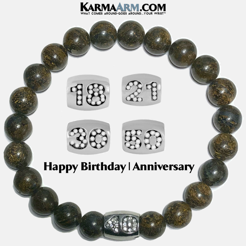 Birthday Anniversary Self-Care Wellness Meditation Yoga Bracelets. Mens Wristband Jewelry. Bronzite.