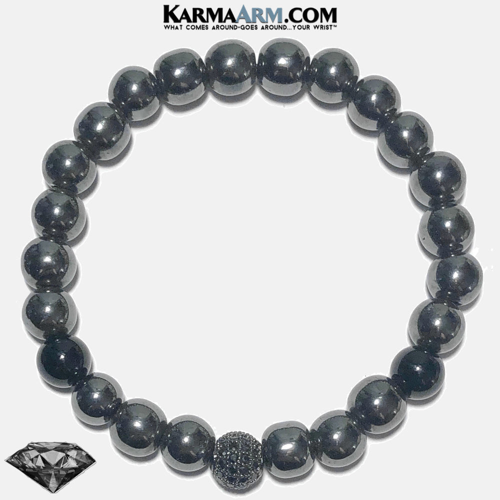 Yoga Bracelets. Black Diamond Ball Wellness Self-Care Meditation Mantra Yoga Bracelets. Mens Wristband Jewelry. Onyx Hematite. copy