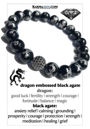 Black Diamond Wellness Meditation Yoga Bracelets. Mens Wristband Jewelry. Dragon Black Agate.