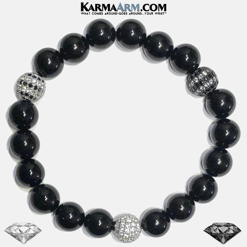 Black Diamond Wellness Self-Care Meditation Yoga Bracelets. Mens Wristband Jewelry. Black Onyx.
