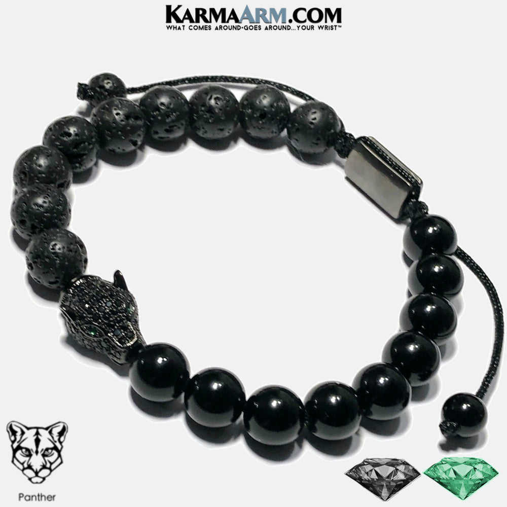 Black Panther Meditation Self-Care Wellness Mantra Yoga Bracelets. Mens Wristband Jewelry. lava Onyx,