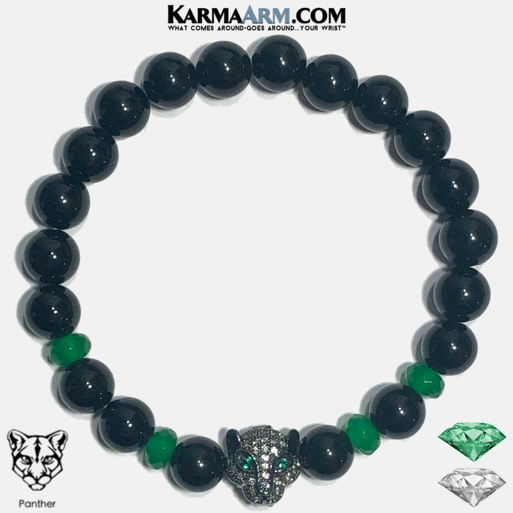 Black Panther Wellness Self-Care Meditation Yoga Bracelets. Mens Wristband Jewelry. Black Onyx. Jade.