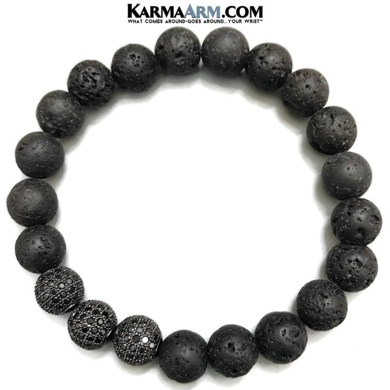 Black Diamond Meditation Mantra Yoga Bracelets. Mens Wristband Jewelry. Lava.