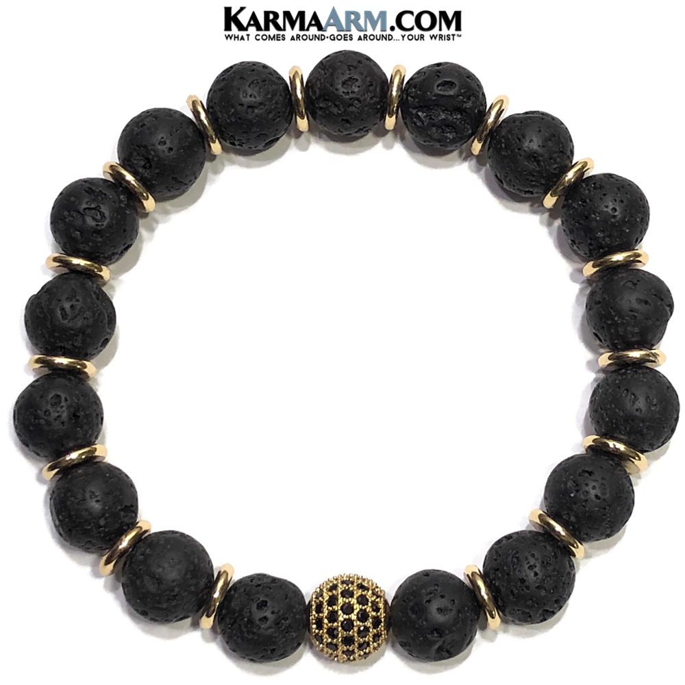 Black Diamond Meditation Mantra Yoga Bracelets. Mens Wristband Jewelry. Lava. Gold Balls.