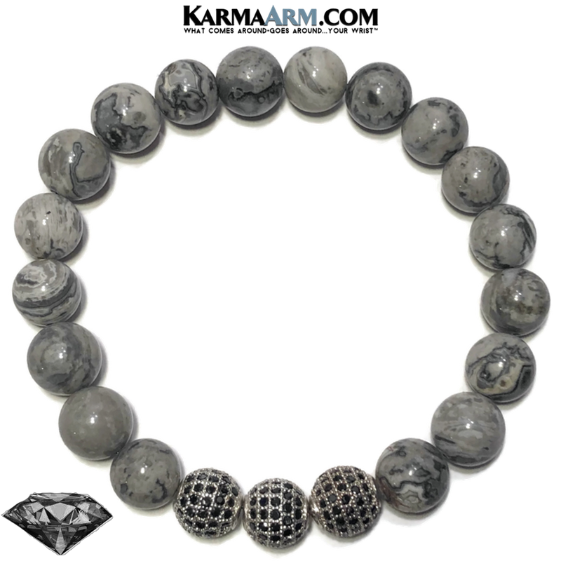 Black Diamond Meditation Self-Care Wellness Mantra Yoga Bracelet. Bead Wristband. Crazy Lace Agate.
