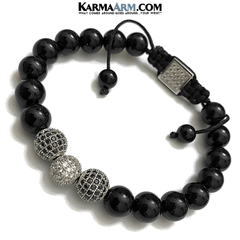 Black Onyx Diamond Meditation Mantra Yoga Bracelet.