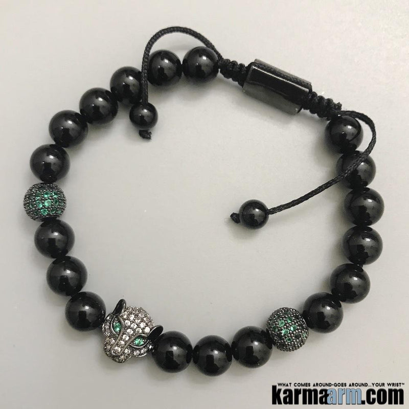 b3dc6b3808b59 Yoga Bracelets. Panther Beaded Stretch Charm Jewelry. Chakra Mantra. Reiki  Meditation Mala.