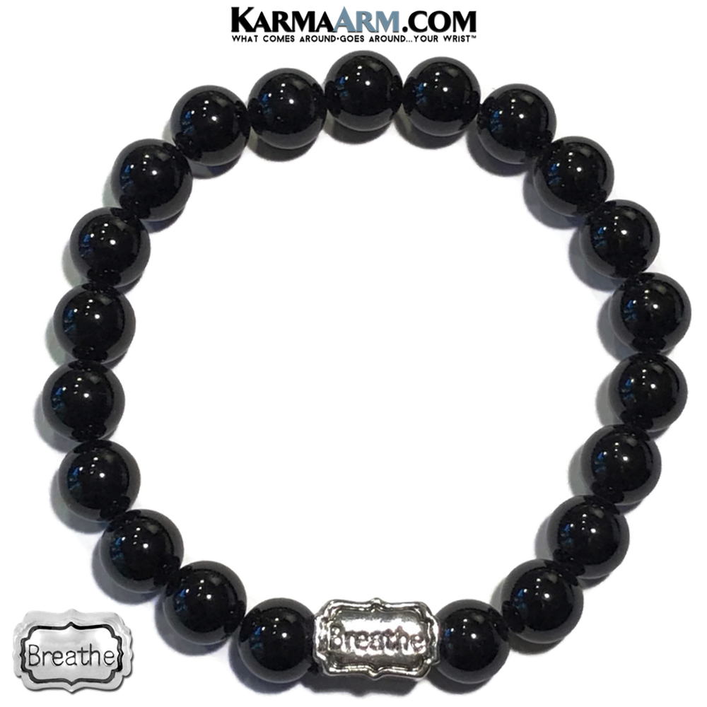 Anxiety Self-Care Wellness Black Onyx Meditation Yoga Bead Mens bracelet.