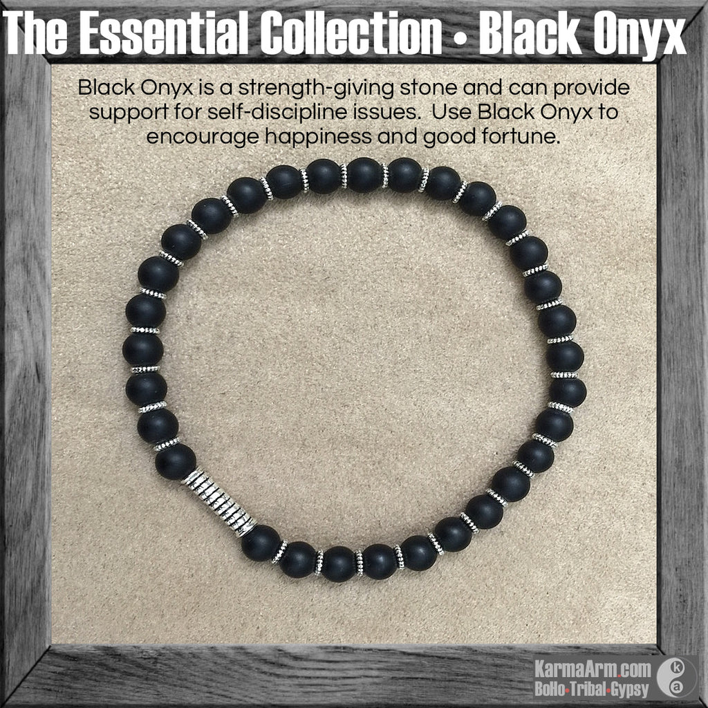 ESSENTIAL Collection: Black Onyx Yoga Mala Bead Bracelet - Karma Arm