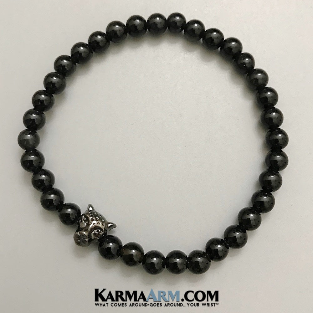 Black Panther Bracelet. Beaded Bracelets. Reiki Healing. Meditation Jewelry. Mens bracelets. Yoga Jewelry. Black Onyx Panther Jewelry.