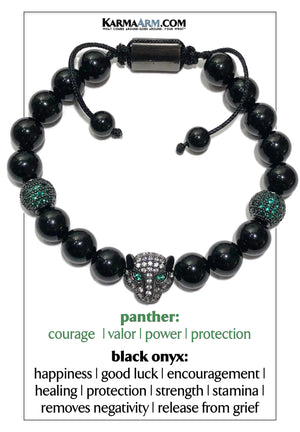 Black Panther Cartier Wellness Self-Care Meditation Yoga Bracelets. Mens Wristband Jewelry. Black Onyx.
