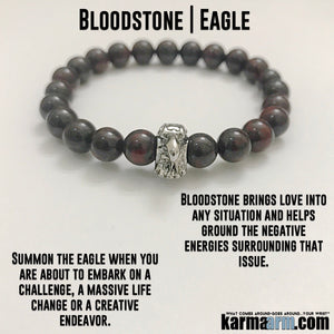 Yoga Bracelets. Stretch Beaded Chakra Jewelry. Energy Healing Meditation. Bloodstone Eagle.