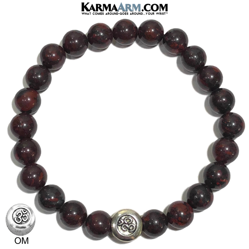 Bloodstone OM Mantra Yoga bracelets. Jewelry mens wristband jewelry.