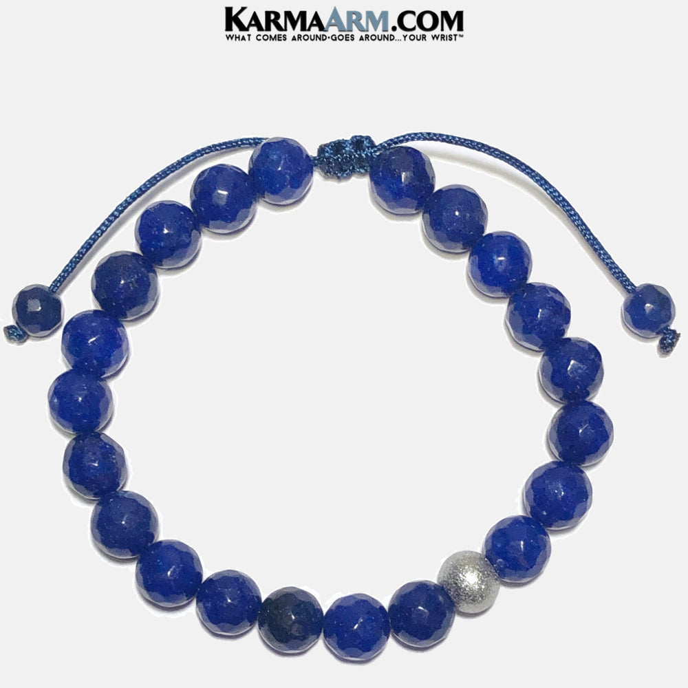 Blue Jade Meditation Mantra Yoga Bracelets. Mens Wristband Jewelry. Textured Stainless Silver. pull Tie Wristband,