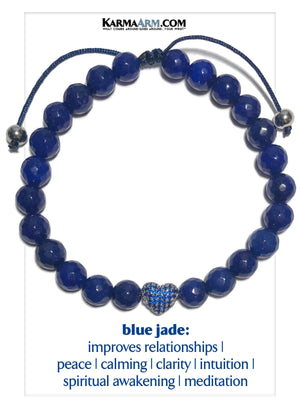 TRUST YOUR HEART | Blue Jade | Sapphire Blue CZ Diamond Heart | Adjustable Pull-Tie Bracelet