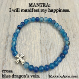 GOALS: Blue Dragon's Vein Agate • Cross Yoga Mala Bead Bracelet - Karma Arm