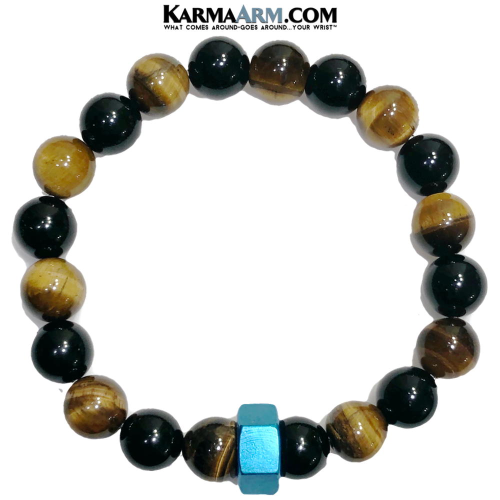 CHANGING GEARS | Tiger Eye | Black Onyx | Blue Hex Bracelet