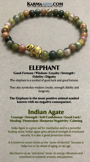 Beaded Bracelets Good Luck Indian Agate Lucky Elephant Jewelry