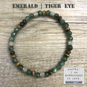 Bracelet | Mens Womens | beaded yoga mala charm. Emerald Tiger eye.